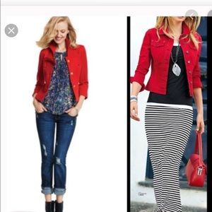 Cabi Red Jean Jacket